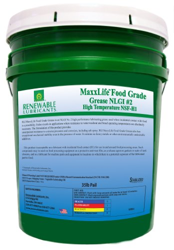 Renewable Lubricants Maxxlife Food Grade High Temperature Nlgi 2 Grease, 35 Lbs Pail
