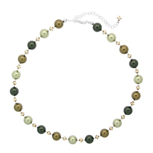 Stonique Creations Sterling Silver Faux Pearl and Crystal Necklace