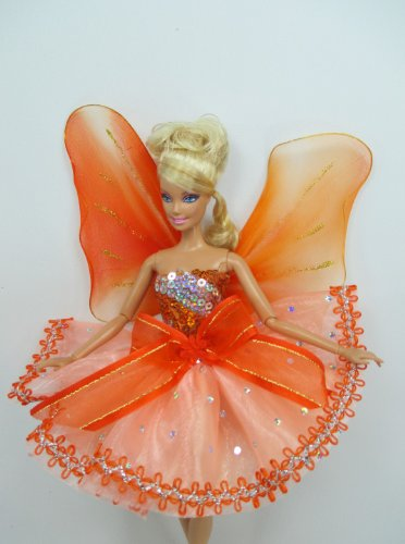 [Handcrafted Outfit Clothes Costume Dress Fairytopia Bellerina Fairy Angel for Barbie Doll] (Fairytopia Barbie Costume)