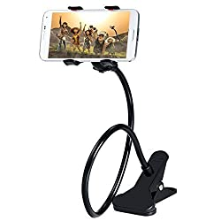 "Advent Basicsâ""¢ Universal Long Arms Flexible Lazy Mobile Stand Holder Support all Mobiles Wide Less Than 90mm For Your Bed Desk Table Multipurpose phone mount with mounting clip - Black"