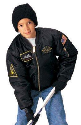 Kids Black Top Gun MA-1 Flight Jacket