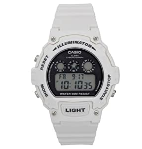 Easy To Read Dial Casio Men's White Digital Illuminator LCD Watch