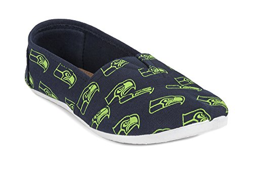 2015 NFL Womens Football Ladies Canvas Slip-On Summer Shoes - Pick Team (Seattle Seahawks, Large)
