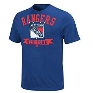 NHL New York Rangers Men's Tape to Tape Crew Neck T-Shirt, Deep Royal, Large