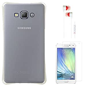 DMG Ultra Thin Flexible TPU Extra Protection and Grip Back Cover Case For Samsung Galaxy A7 SM-A700 (Clear) + White Earphones + Matte Screen