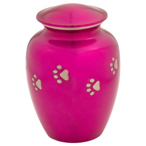 Hot Pink with Silver Paw Prints Pet Urn - Large (Pink Pet Urns compare prices)