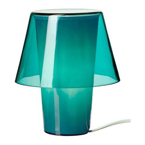 IKEA GAVIK Tischleuchte, Frostglas, 21 cm hoch, inkl. Leuchtmittel (Blau)