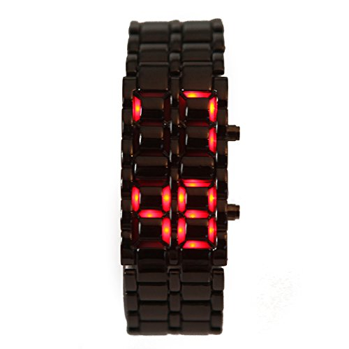 Hde Gunmetal Gray Iron Samurai Style Stainless Steel Digital Volcanic Lava Watch With Red Led Display