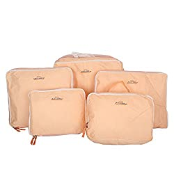 PackNBUY Peach / Light Pink 5 Bags in Bag Travel Luggage Organizer Set