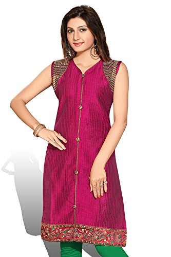 AmzGTrends Indian Tunics Womens Long Kurtis Cotton Cloth Designer Plus Size Tops