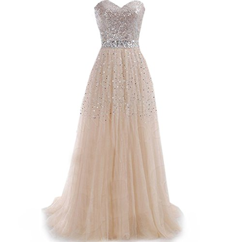 Partiss Women's A Line Sweetheart Beading Evening Dress ,Chinese XL,Champagne
