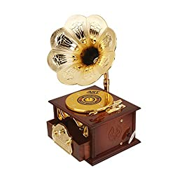 Imported Retro Gramophone Design Mechanical Disc Music Box