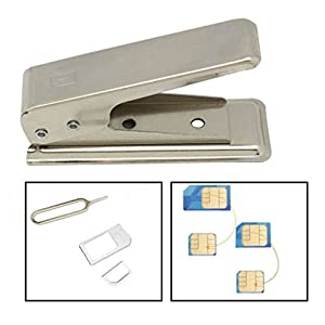 NANO SIM CARD Cutter from Full or Micro - For iPhone 5, 5S, iPad 4 plus 2 sets adapters and sim opener