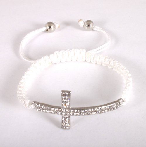 White Lace Style Iced Out Cross Bracelet with Beaded Disco Balls Macrame Shamballah