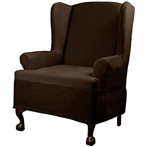 Maytex Carter Wing Chair Cover Chocolate Armchair Slipcovers