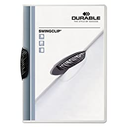 Swingclip Polypropylene Report Cover, Letter Size, Clear/Black Clip, 25/Box, Sold as 25 Each
