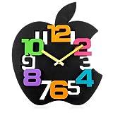 Apple 黒アップル 壁掛け時計 アートデザインクロック