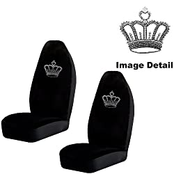 Crown Gem Crystal Studded Rhinestone Bling Car Truck SUV Front Universal-Fit Bucket Seat Covers - PAIR