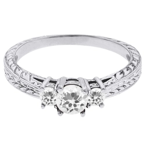 0.59 Ct Round White Topaz Sapphire 14K White Gold 3-Stone Ring
