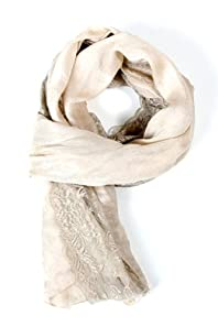 Angie Sheer Lace Embroidered Fashion Scarf in Peach