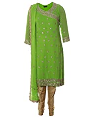AzraJamil Indian Georgette Light Green Kundan Hand Worked Traditional Churidar Suit For Women