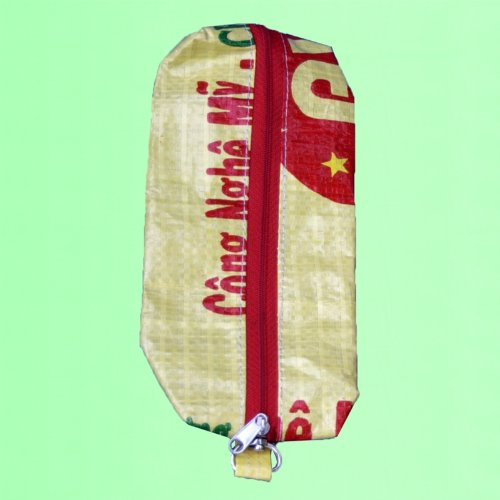 Image of Pencil Case made from Recycled Rice Bags - Yellow