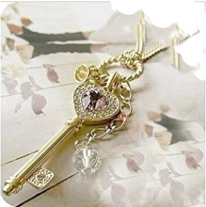 BUYINHOUSE Fashion Design Gold Plated Noble Faux Diamond With The Key to The Heart Pendant Necklace