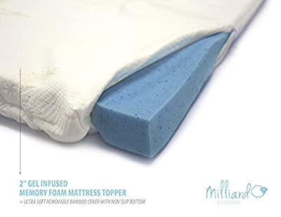 "MILLIARD 2"" Gel Infused Memory Foam Mattress Topper + Ultra Soft Removable Bamboo Cover with Non-Slip Bottom from Milliard"