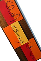 Mid Century Modern Wall Art: THE TIKIS - Painting, Hanging Sculpture - Abstract Wood and Metal Artwork