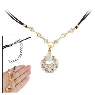 Rosallini Gold Tone Shell Faceted Rhinestone Accent Pendant Necklace