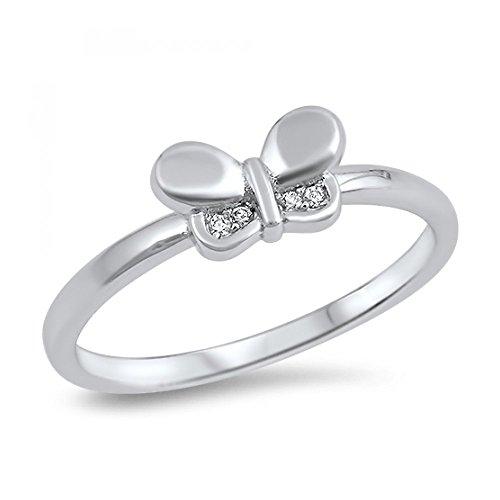 anillo en plata esterlina y circonita cúbica, diseño mariposa