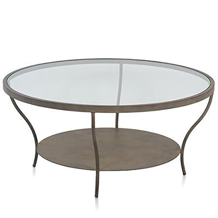 Mesa centro redonda forja y cuero c/ cristal 100x100x46 cm