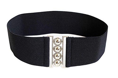 Modeway® Waist Trimmer Stretch Buckle Belt Corset Waist Belt Cinch belts for women elastic stretch waistband(Small-Medium, Black)