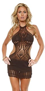 Sexy Crochet Cut Out Mini Dress - Medium/Large
