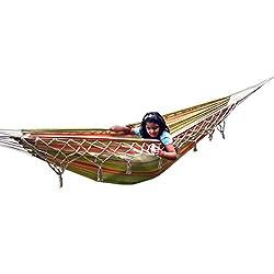 Hangit Cotton Fabric Big Swing Hammock for Garden with Crochet - Garden Stripe