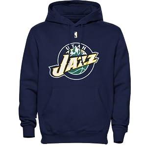 Majestic Utah Jazz Primary Logo Pullover Hoodie Sweatshirt - Navy Blue by Majestic