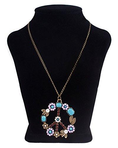 niceeshop(TM) Pearl Beads Rhinestone Peace Sign Symbol Chain Pendant Necklace,Bronze (Peace Pendant Necklace)