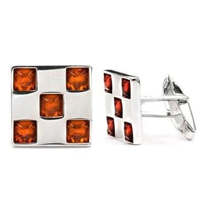 Honey Amber Sterling Silver Square Cufflinks
