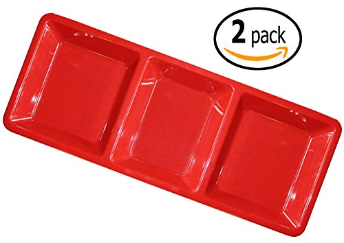 "Set Of 2 - 15"" X 6¼"" Red Melamine 3 Section Compartment Tray / Appetizer Platter Break-Resistant * Nsf Approved * Dishwasher Safe - Commercial Grade"