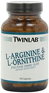 Twinlab L-Arginine and L-Ornithine, 100 Capsules (Pack of 2)