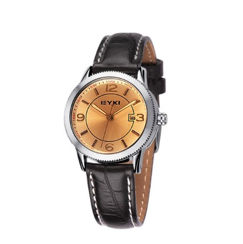 Ufingo-Fashion Day And Date Leather Strap Quartz Wrist Watch For Women/Girls/Ladies-Brown