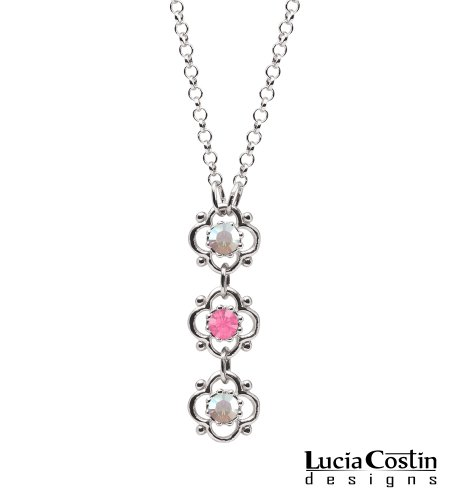 Awesome Flower Pendant Beautifully Designed by Lucia Costin with 4 Petal Flowers, Pink and White Swarovski Crystals, Accented with Dots; .925 Sterling Silver