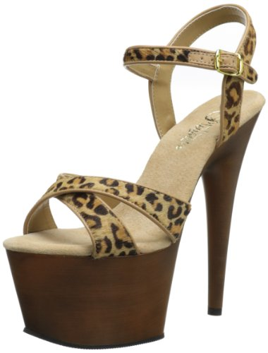 Pleaser Women'S Adore-770 Ankle-Strap Sandal,Leopard Brown,12 M Us