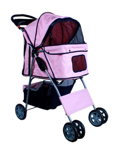 New Deluxe Folding 4 Wheel Pet Dog Cat Stroller Carrier W Cup Holder Tray - Pink front-905905