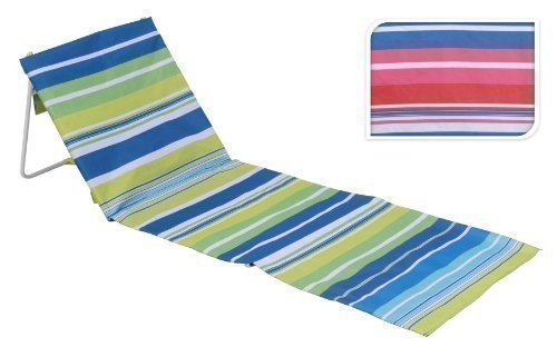 FOLDING BEACH LOUNGER MAT DECK CHAIR (STRIPE GREEN BLUE)