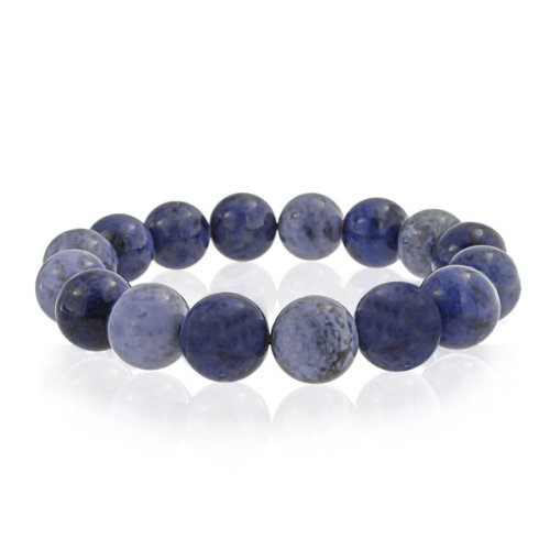 Bling Jewelry Round Blue Sodalite Gemstone Bead Stretch Bracelet 12mm