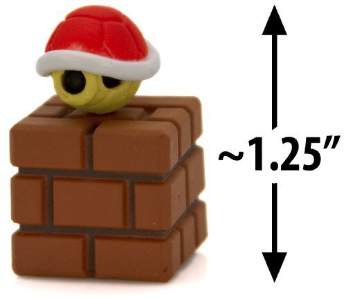 "Red Koopa Shell on a Brick Block ~1.25"" Mini Figure [Super Mario Choco Egg Mini-Figure Series #3 - NO CANDY] (Japanese Import)"