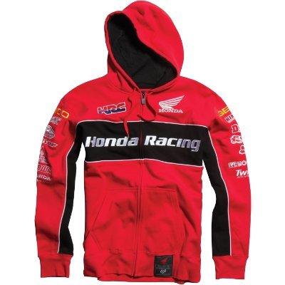 Fox Racing Honda Team Zip Hoody Sweatshirt Red (Medium)