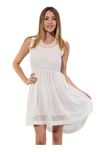 2Luv Women'S Lace Trimmed Open Back Cocktail Dress White L (D81549)