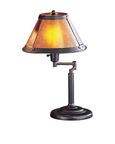 Bristol Park Lighting Swing Arm Table Lamp With Mica Shade, Rust